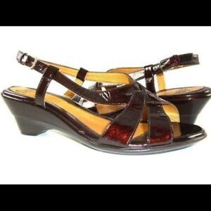 Sofft Andrea Bronze Patent Wedge Sling Sandals 8 M